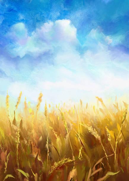 stockillustraties, clipart, cartoons en iconen met tarweveld, aquarel - wheat field
