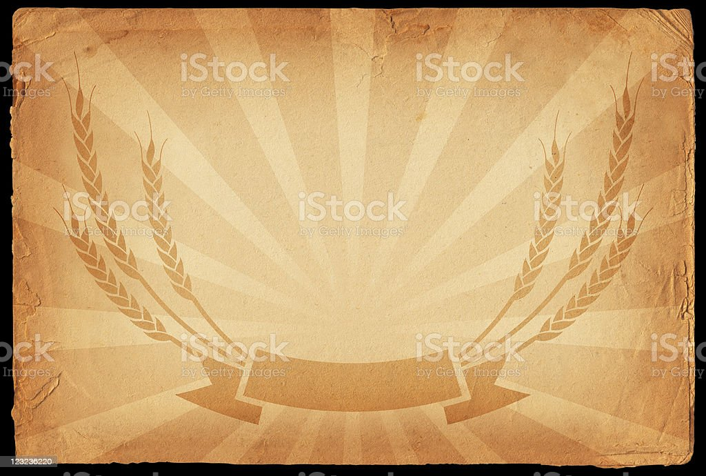 wheat wreath on old paper Background royalty-free stock vector art