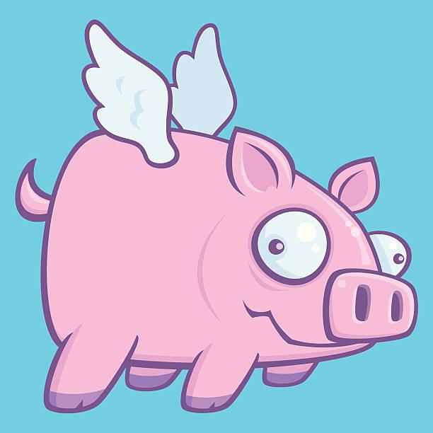 When Pigs Fly vector art illustration