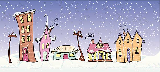 Whimsical Houses vector art illustration