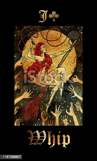 Whip. Card of Lenormand oracle deck Gothic Mysteries.