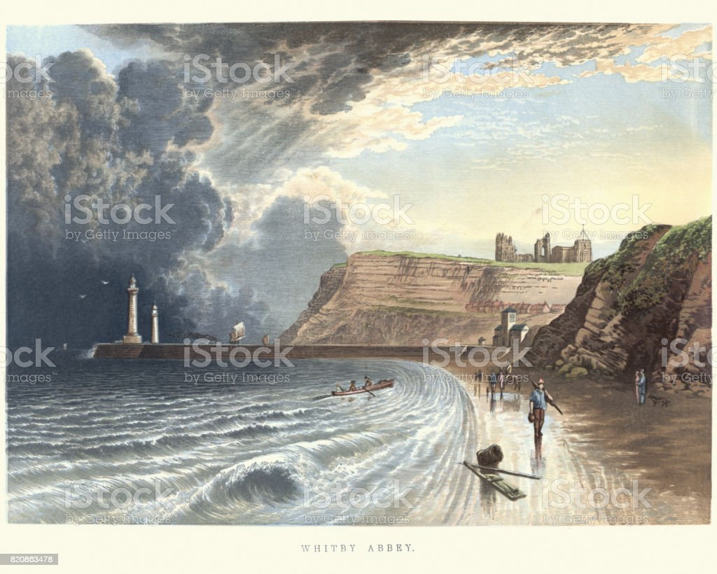 Whitby Abbey, North Yorkshire, 19th Century vector art illustration