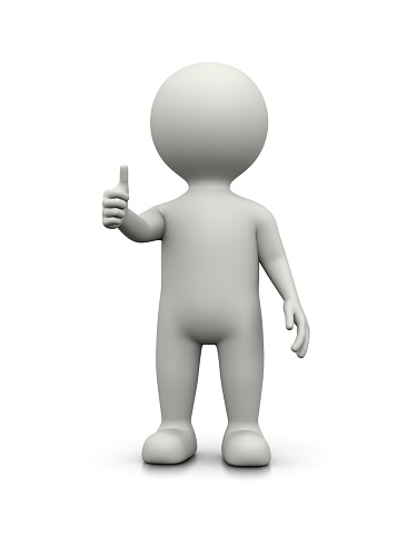 White 3D Character Showing Raised Thumb