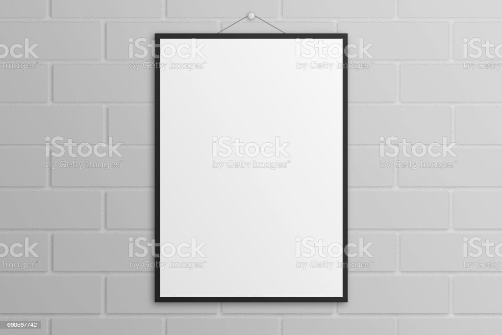 White 3D illustration poster mockup with black frame brick wall royalty-free white 3d illustration poster mockup with black frame brick wall stock vector art & more images of backgrounds
