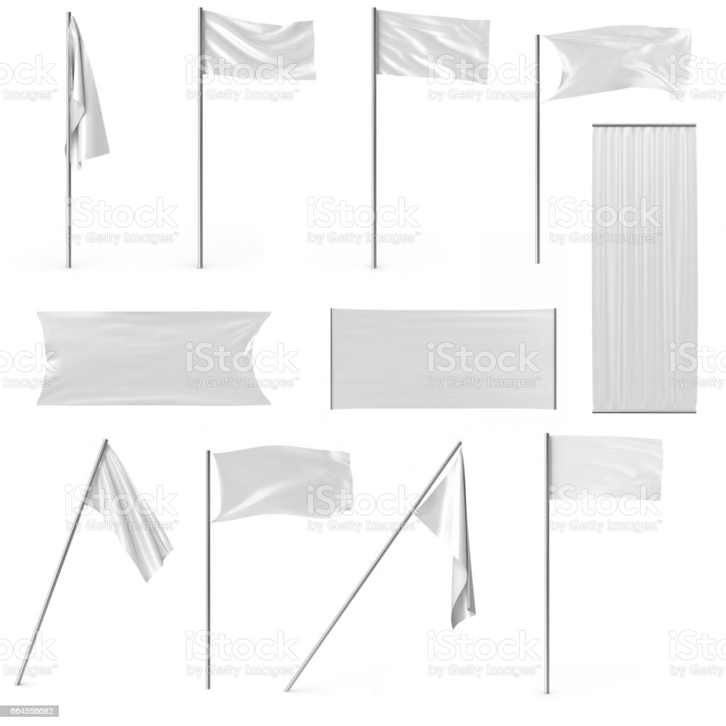 White advertising textile flags and banners set. Advertising flag banner and fabric canvas poster for your design projects. 3d rendering vector art illustration