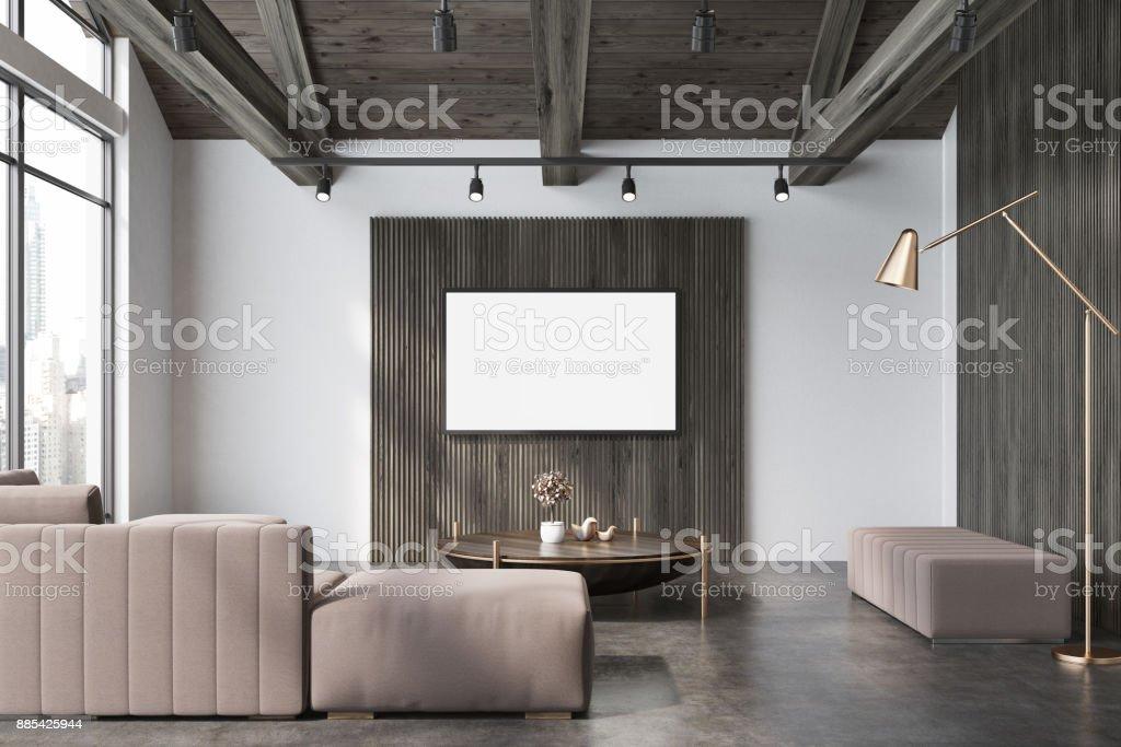 Weiß Und Holz Wohnzimmer, Beige Sofa Plakat Lizenzfreies Weiß Und Holz Wohnzimmer  Beige Sofa Plakat