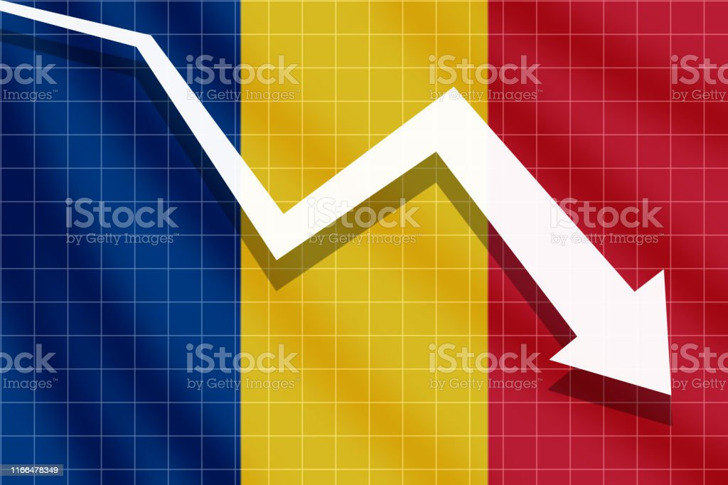 White Arrow Fall Down On The Background Of The Flag Romania