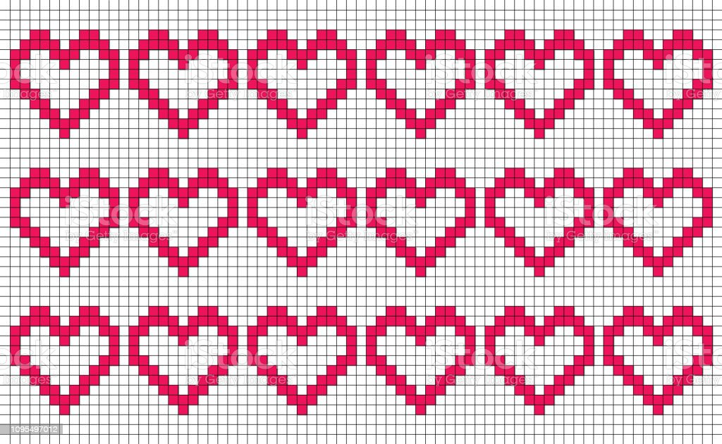 White Background With Repeating Pixellike Hearts Patchwork