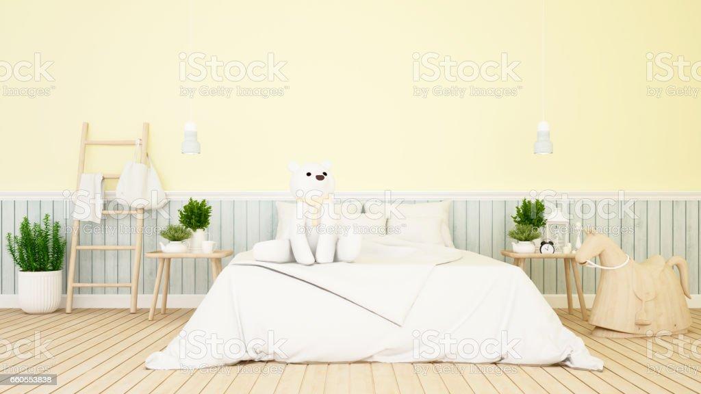 white bear in kid room or bedroom - ilustração de arte em vetor