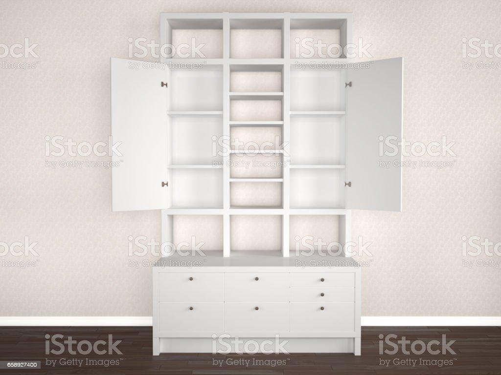 White bedroom cupboard with open doors. 3d illustration vector art illustration