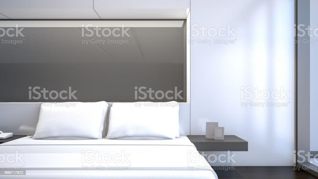 Chambre À Coucher Blanche Avec Des Oreillers Blancs Rendu 3d ...