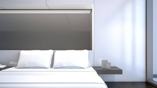 illustrations, cliparts, dessins animés et icônes de chambre à coucher blanche avec des oreillers blancs, rendu 3d - architecture intérieure beton