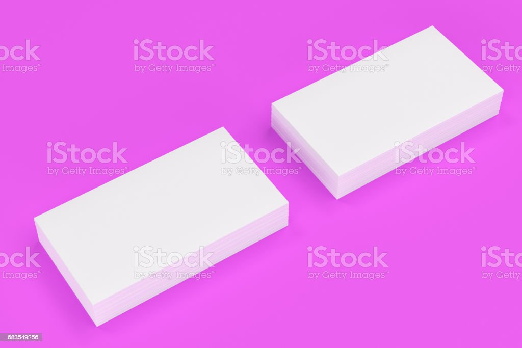 White Blank Business Cards Mockup On Violet Background Stock Vector ...