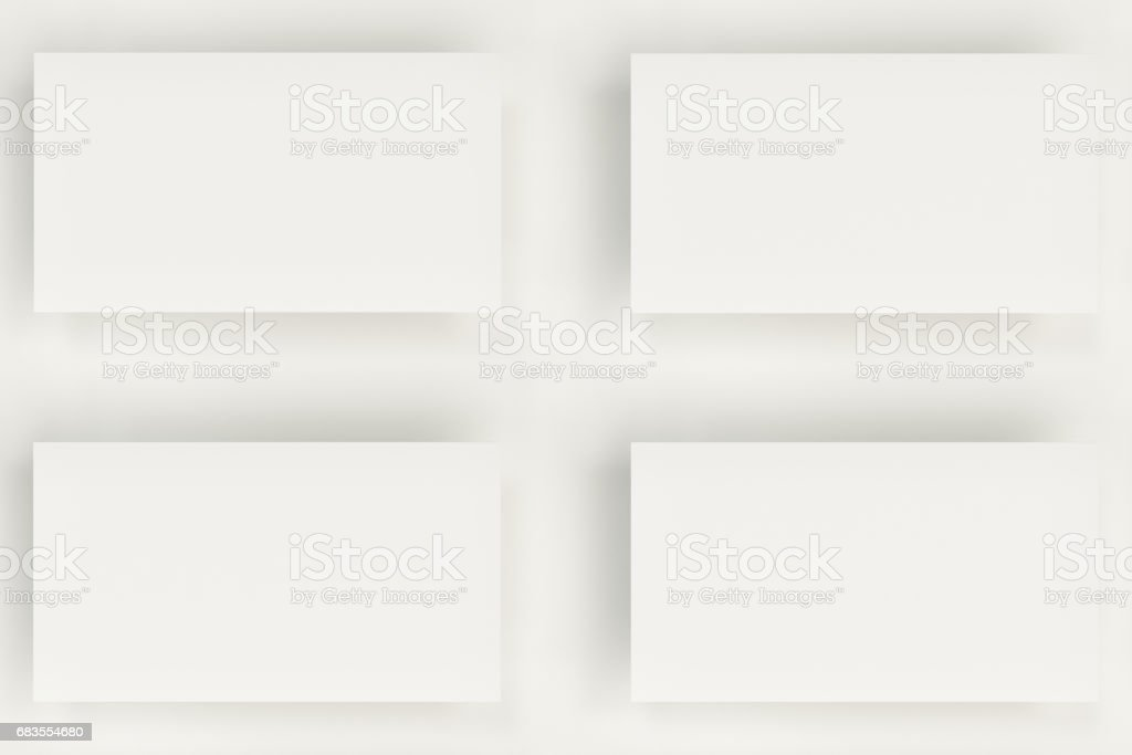 White Blank Business Cards Mockup On White Background Stock Vector ...
