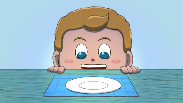 White Boy Looking at Empty Plate Close-up illustration of a white boy staring at an empty plate on the table. hungry child stock illustrations