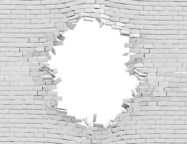 White Breaking Wall White Breaking Wall, 3d render demolished stock illustrations