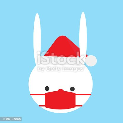 istock White Bunny wearing Santa hat and red mask for covid-19 in the icy blue background. Cute and safe Christmas image. 1286125305