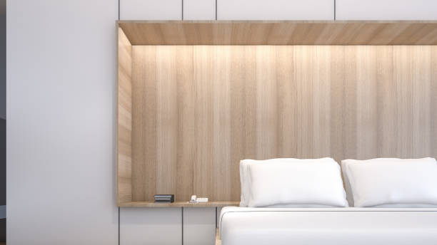 illustrations, cliparts, dessins animés et icônes de oreillers blancs de blancs et armoires dans la chambre, rendu 3d - architecture intérieure beton