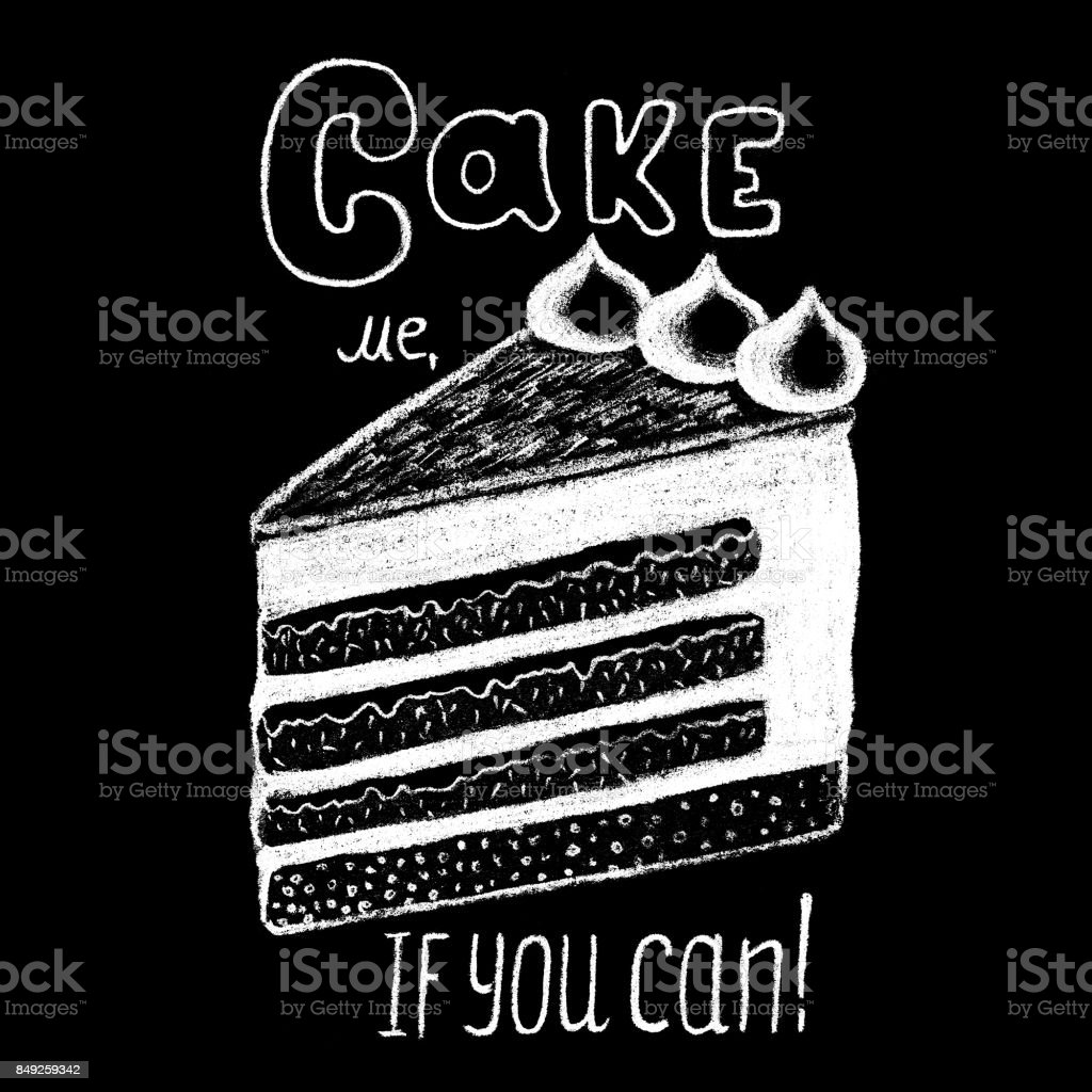 Weiße Kreide Kuchen Und Schriftzug Auf Tafel Zeichnen Süße Kuchen ...