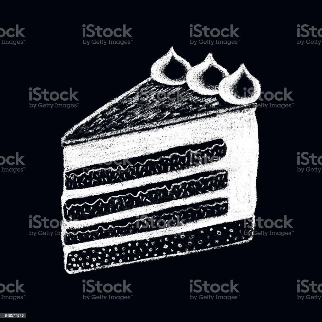Weiße Kreide Kuchen Stück Auf Tafel Zeichnen Süße Kuchen Stück