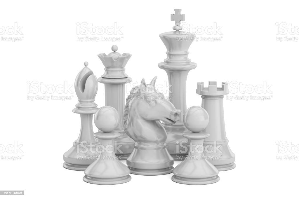 White chess figures, 3D rendering isolated on white background vector art illustration