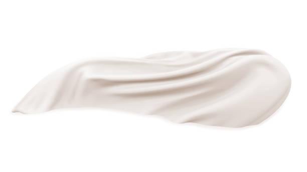stockillustraties, clipart, cartoons en iconen met witte doek geïsoleerd op witte achtergrond vliegen in de lucht, realistische illustratie. decoratieve materiaal golf, zijdeachtig stuk stof met satijnen textuur. - zijde