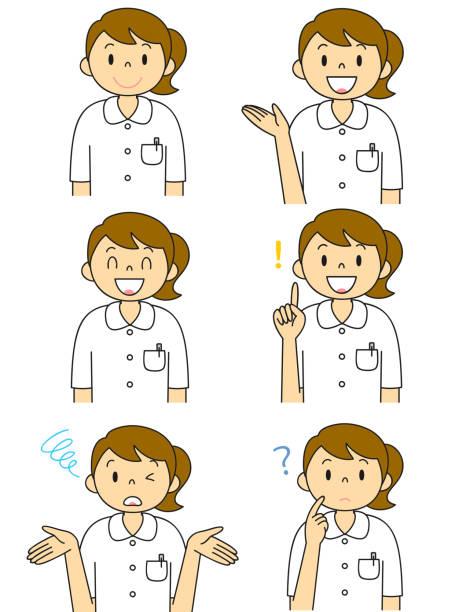 ilustrações de stock, clip art, desenhos animados e ícones de white coat female gesture illustration set - mulher deixar ir