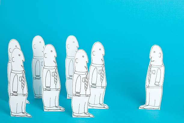 White collar  clones vector art illustration