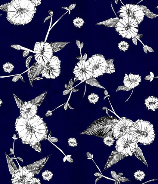 Flor silvestre margarita blanca sobre azul oscuro - Patrón sin costuras de la naturaleza. - ilustración de arte vectorial