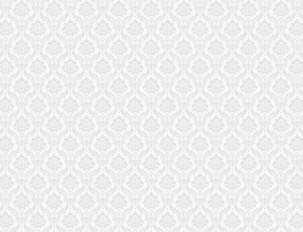 White damask pattern background vector art illustration