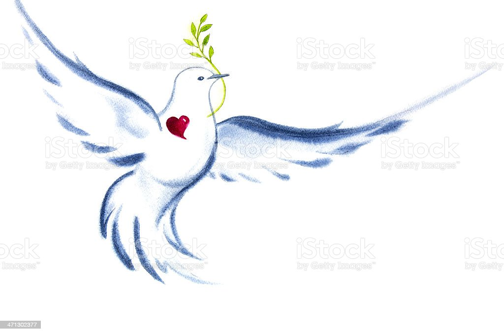 White Dove Spirit Of Love and Peace vector art illustration