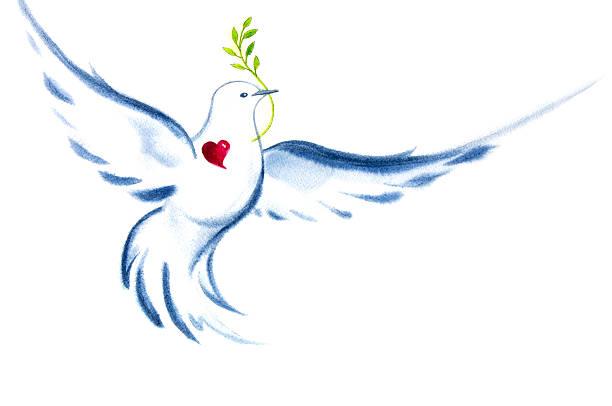 White Dove Spirit Of Love and Peace vector art illustration