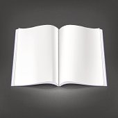 White empty open magazine spread page on gray dark background