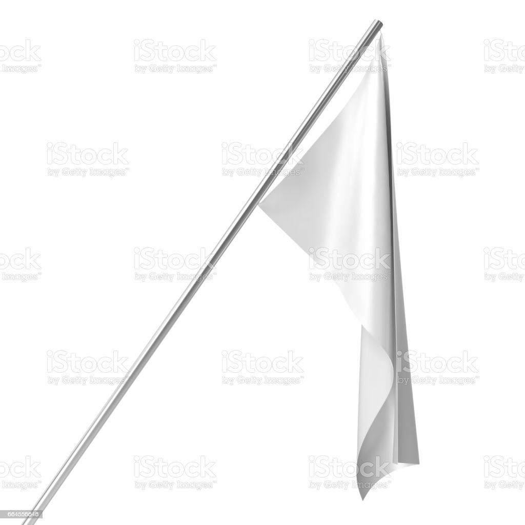 White flag on flagpole at rest empty mockup, flag isolated on white background. Blank Mock-up for your design projects. 3d rendering royalty-free white flag on flagpole at rest empty mockup flag isolated on white background blank mockup for your design projects 3d rendering stock vector art & more images of abstract