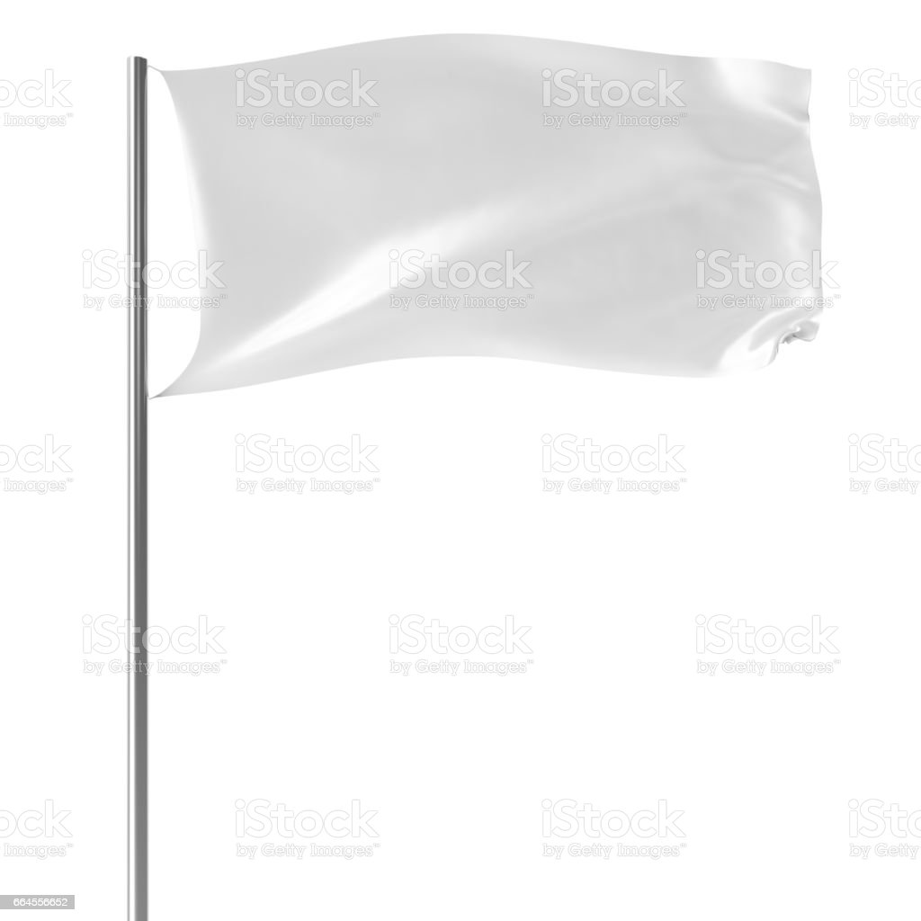 White Flag On Flagpole Flying In The Wind Empty Mockup Flag Isolated