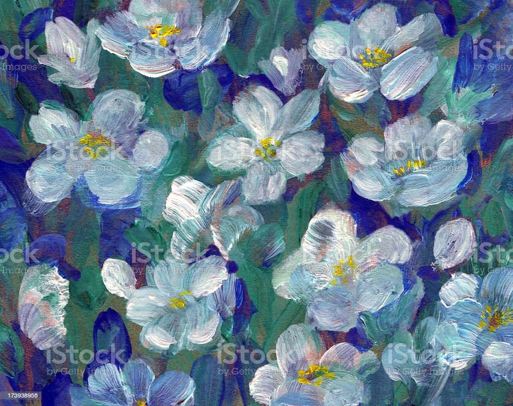 White Flowers on multicolored Background royalty-free stock vector art