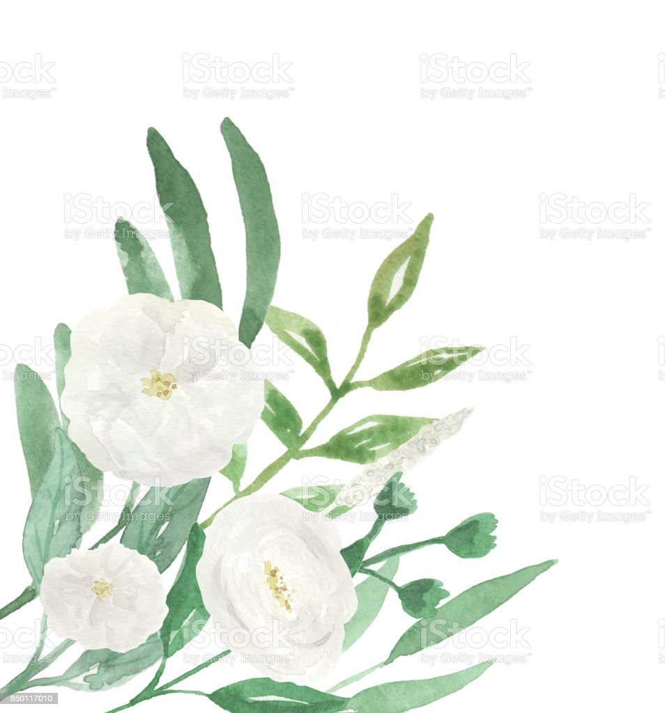 White Flowers Wedding Hand Painted Florals Watercolor Corner Stock