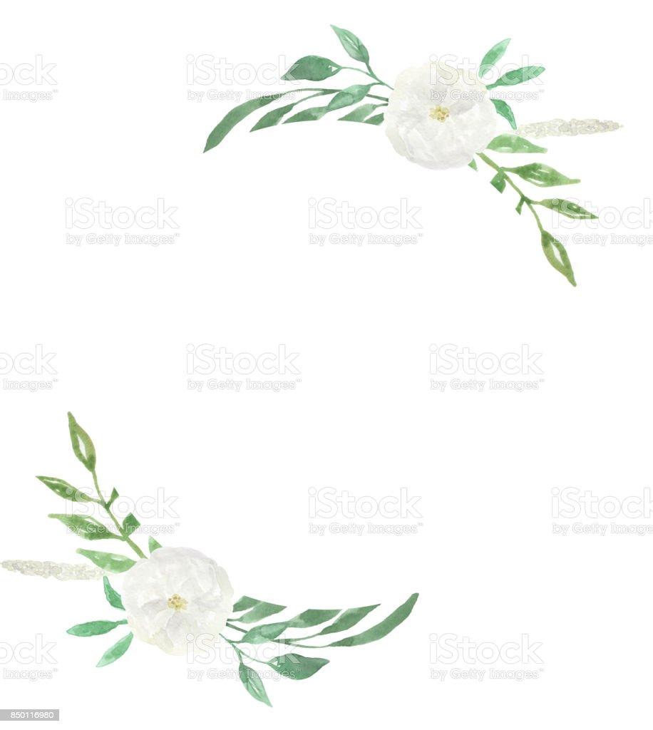 ハンド ペイント花柄水彩画フレームを結婚式の白い花 イギリスの