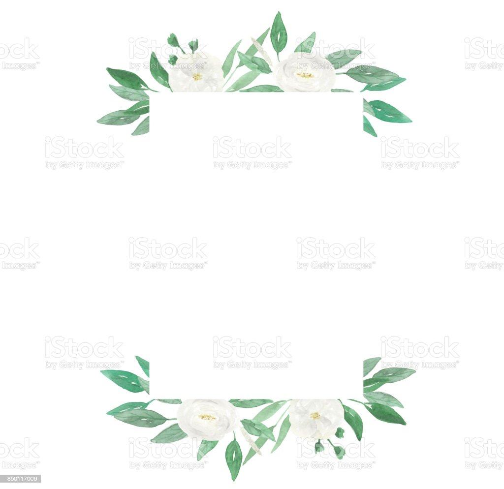 Weisse Blumen Hochzeit Hand Gemalten Blumen Aquarell Frame Stock