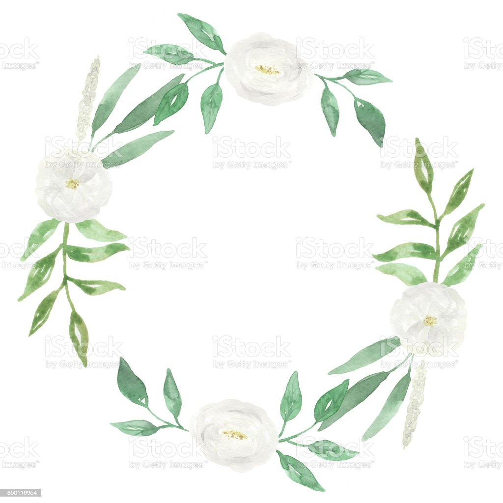 White Flowers Wedding Hand Painted Florals Watercolor Wreath Stock