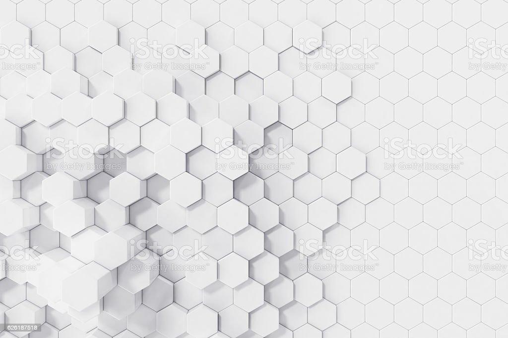 White geometric hexagonal abstract background. 3d rendering vector art illustration