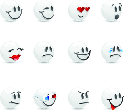 White Glass Emoticons Stock Illustration - Download Image Now