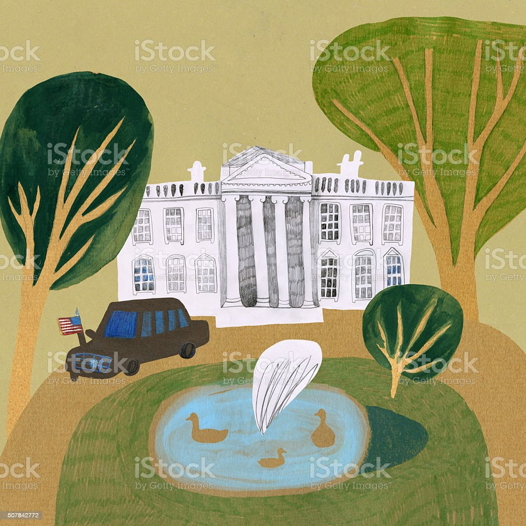 White House in Washington USA vector art illustration