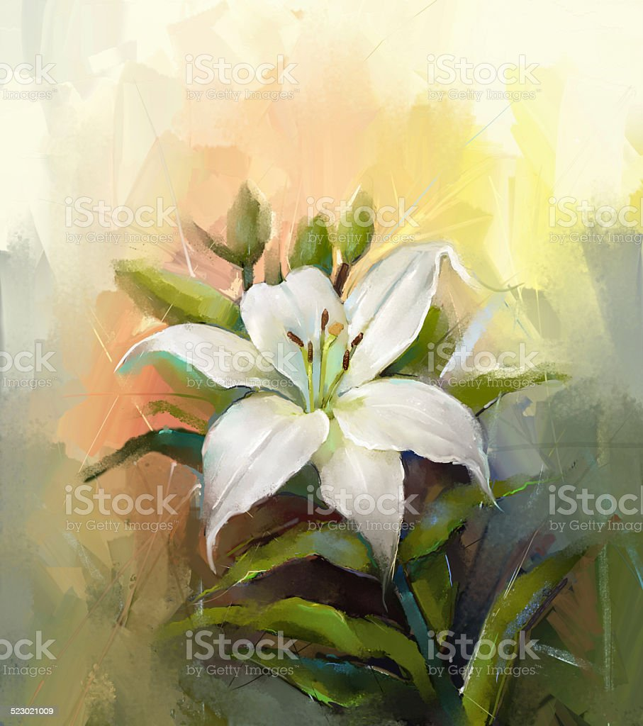 White lily flowerflower oil painting stock vector art more images white lily flowerflower oil painting royalty free white lily flowerflower oil painting stock izmirmasajfo Gallery