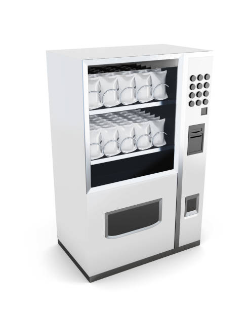 white machine for sale of snacks isolated on white background. - empty vending machine stock illustrations