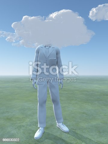 861553788 istock photo White man figure with clouds for head 666530322