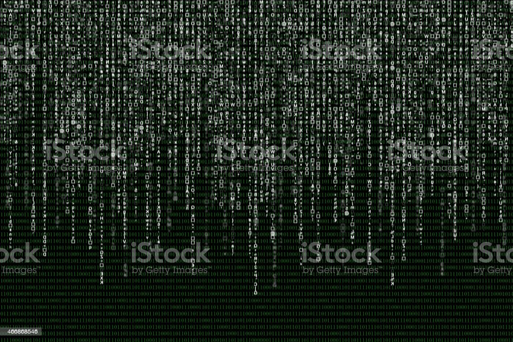 white matrix on the background of green binary code vector art illustration