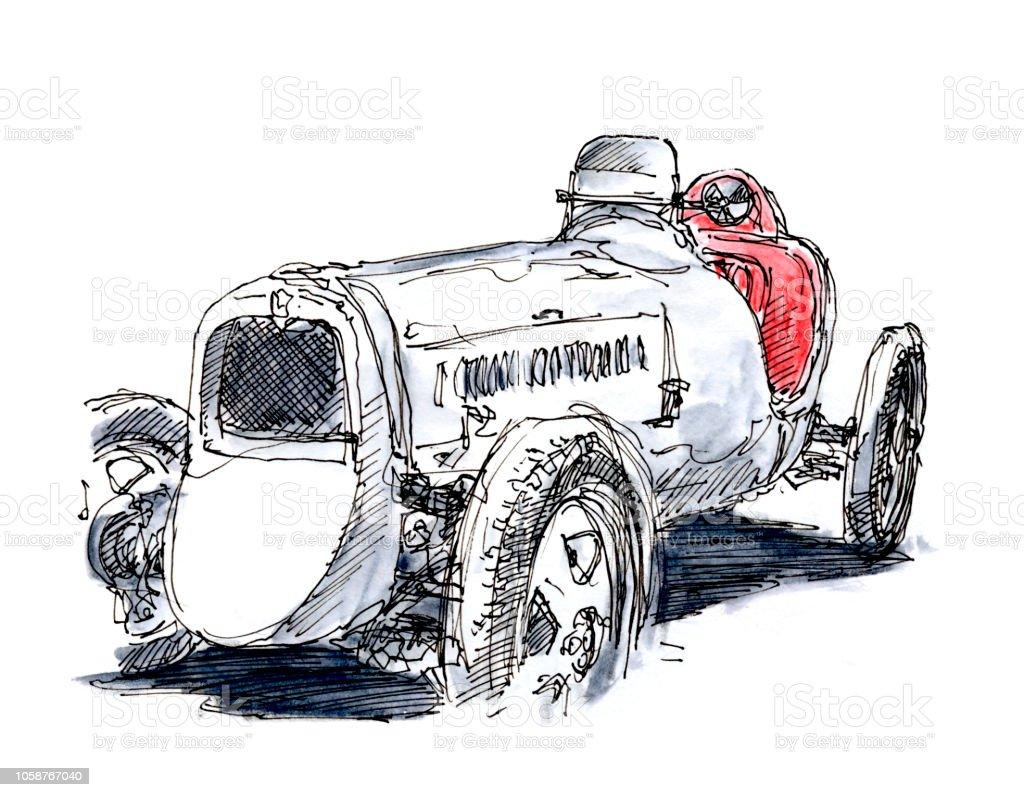 Blanc Classique Voiture De Course Monoplace 1931 Dencre