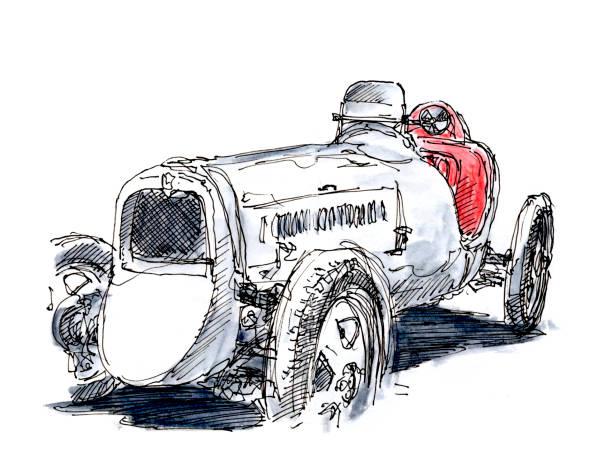 White Monoposto 1931 Classic Racecar Ink Drawing and Watercolor White Monoposto 1931 Classic Racecar. Fountain Pen Ink Drawing and Watercolor Pencils. Drawn on location. motor sport stock illustrations