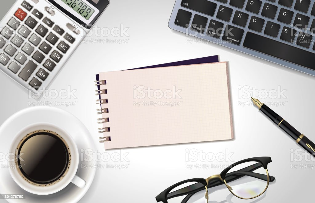 White office desk table with laptop, calculator,pen, cup of coffee,notepad and glass. Top view with copy space, flat lay. royalty-free white office desk table with laptop calculatorpen cup of coffeenotepad and glass top view with copy space flat lay stock vector art & more images of backgrounds